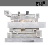 透明白色现代建筑剖面