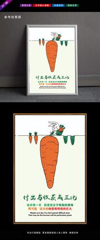 兔子拔萝卜付出与收获励志挂画