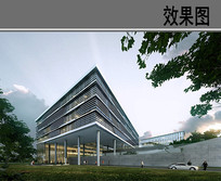 现代玻璃建筑 PSD