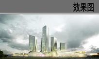现代玻璃建筑群效果图 PSD