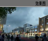 阴天步行街景观效果图 PSD