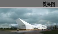 异形建筑效果图 PSD