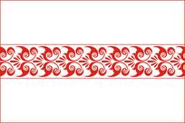 中国红创意勾线花纹图案 CDR