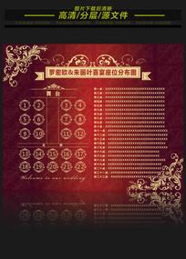 中国红婚礼座位牌席位表