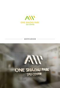 草绿色A字母logo设计 AI