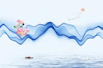 抽象水墨山水画装饰画设计 PSD