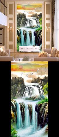 高山瀑布图油画国画玄关