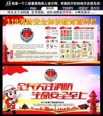 红色消防展板消防宣传栏