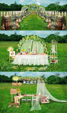 户外草坪纯情小清新婚礼效果图