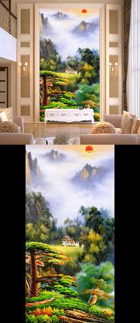 山水国画油画迎客松风景画玄关