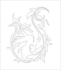 祥龙之花雕刻图案