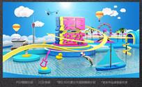夏日狂欢c4d立体电商海报