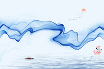 中式水墨山水装饰画 PSD