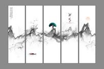中式禅意水墨画山水画