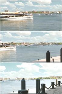 地中海边港口码头美丽风光视频