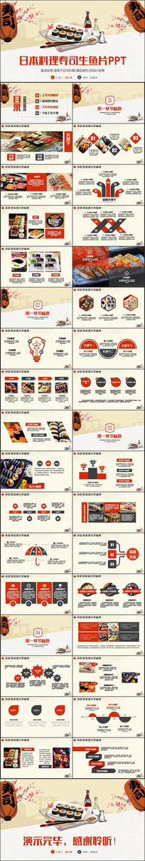 精致寿司料理餐厅酒店PPT