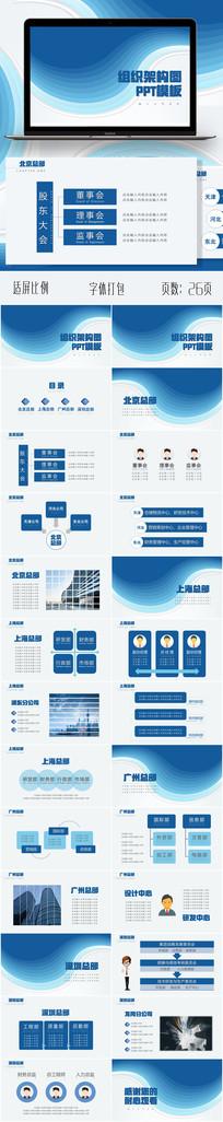 蓝色企业组织架构图PPT