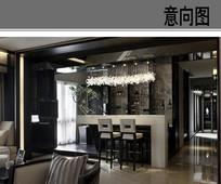 别墅客厅吧台设计 JPG