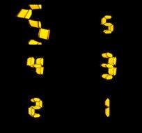 电子数字5秒倒计时带透明通道