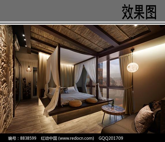 东南亚风格卧室透视图图片