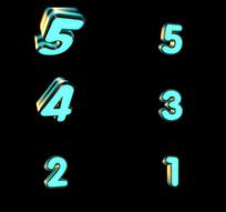 蓝色金属5秒倒计时带透明通道视频