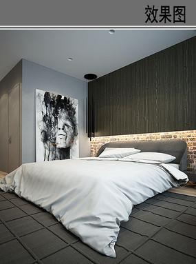 冷色调卧室效果图