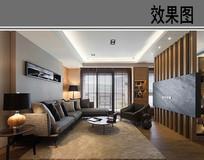 现代客厅设计透视效果 JPG
