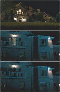 夜晚别墅花园夜景关灯实拍视频