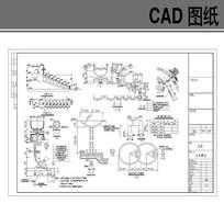 园林小品九泉叠水施工图 CAD