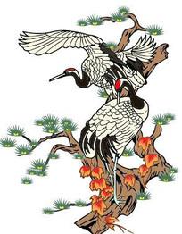 中国风松鹤矢量图案