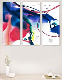 大气彩色水墨风格装饰画无框画
