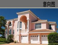 粉色平顶建筑