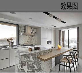 工业风开放式厨房透视图
