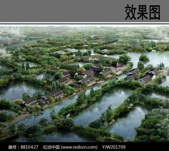 古建滨水景观鸟瞰图图片