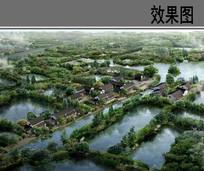 古建滨水景观鸟瞰图