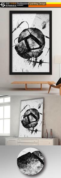黑白碎石线条抽象无框画装饰画