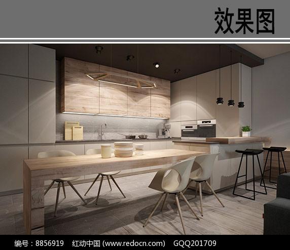 简约风格开放式厨房效果图图片