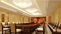 酒店长条形桌子会议室效果图