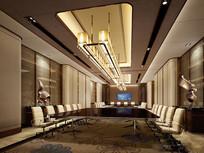酒店黑色玻璃桌子会议室效果图