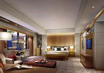 酒店木头调标房卧室效果图