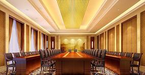 酒店四排桌子会议室效果图 JPG
