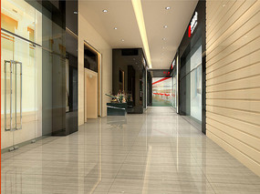酒店一层商业街走廊效果图