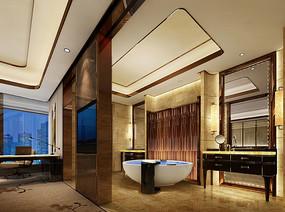 酒店圆形浴缸卫生间效果图