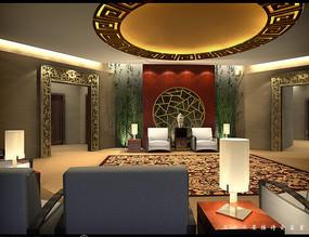 酒店中式接待会客厅效果图