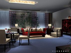 酒店竹子装饰豪华套房效果图