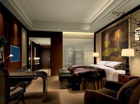 酒店紫色调标准房效果图
