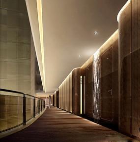 酒店棕色瓷砖通道效果图