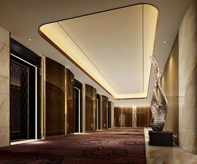酒店棕色瓷钻电梯厅效果图