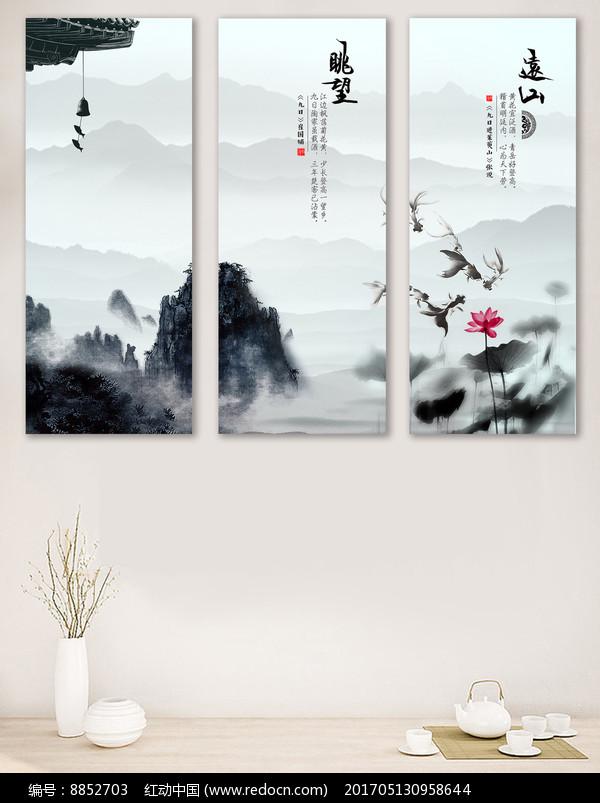 宁静致远中式客厅无框装饰画图片