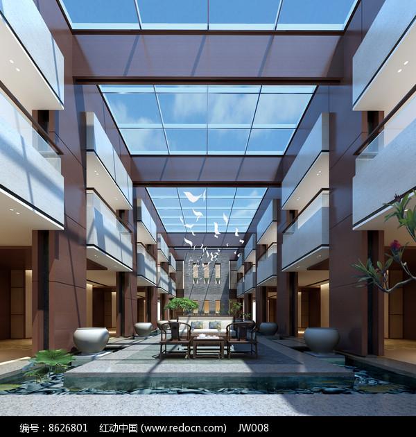 欧式古典风透明玻璃中庭效果图图片